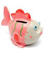 Копилка керамическая Рыба розовая (13х10х8,5 см)