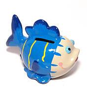 Копилка керамическая Рыба синяя (13х10х8,5 см)