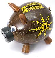 Копилка Свинка кокосовая (14х15х10 см)