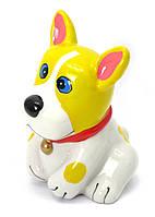 Копилка Собака керамика желто-белая (12х9х9 см)