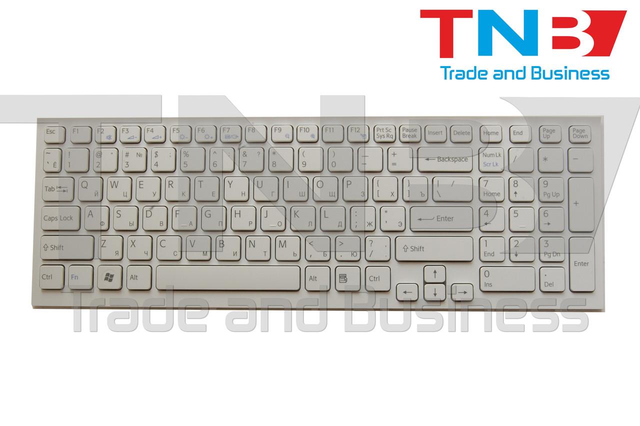 Клавиатура SONY Vaio VPC-EB Series белая с белой рамкой RUUS