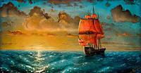 Картина-раскраска Mariposa Алые паруса  40 х 50 см