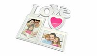"""Фоторамка 3 фото """"Love"""" белая"""