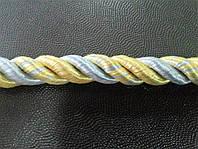 Декоративный шнур кант ø10мм цвет золото с голубым
