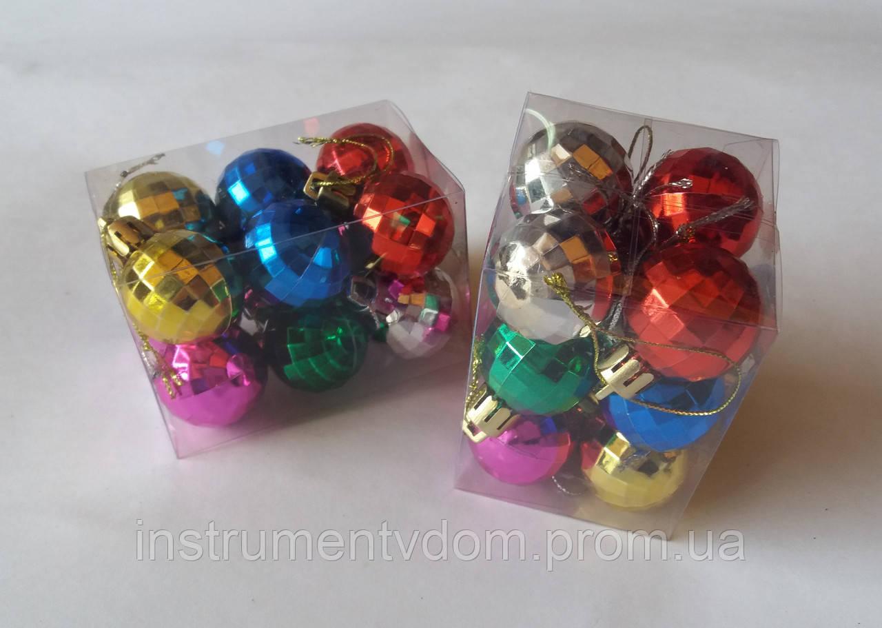 """Елочная игрушка """"Шар цветной маленький с гранями"""" (упаковка 12 шт)"""
