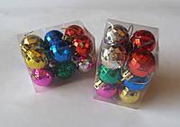 """Елочная игрушка """"Шар цветной маленький с гранями"""" (упаковка 12 шт), фото 1"""