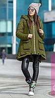 Молодежное зимнее пальто пуховик А- образного силуэта с глубоким капюшоном Хаки