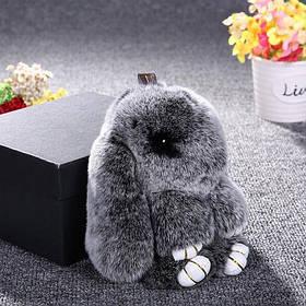 Брелок меховой Кролик Серебро (натуральный мех)