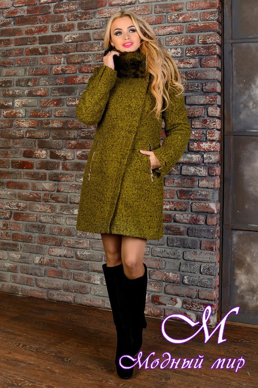 Женское зимнее пальто с шикарным мехом р. S-L арт. Эльпассо букле песец зима 8068