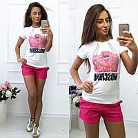 """Модная, женская футболка с принтом """"Moschino"""" турецкая вискоза"""