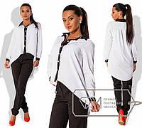 Модный костюм, классические узкие брюки и блуза с контрастной отделкой и асимметричным низом РАЗНЫЕ ЦВЕТА!