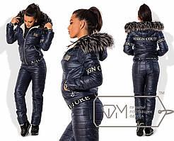 Модный тёплый женский костюм (стёганные брюки и курточка, овчина, мех, капюшон) РАЗНЫЕ ЦВЕТА!