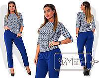 Стильный женский костюм для пышных модниц (однотонные брюки, кофта с красивым принтом) РАЗНЫЕ ЦВЕТА!