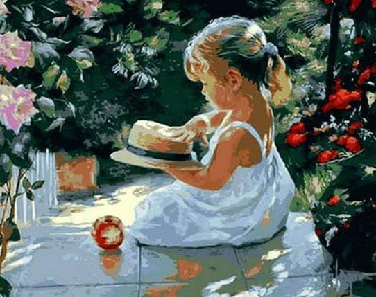 Набор-раскраска по номерам Девочка со шляпкой худ. Волегов Владимир, фото 2