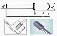 Борфреза сфероцилиндрическая 90х8мм (25х18мм), тип С (тип насечки ― 3)
