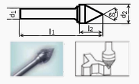 Борфреза коническая 55х6мм (5.2х6мм), тип J (тип насечки ― 3)