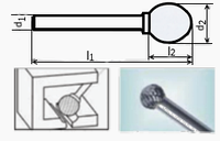 Борфреза сферическая 55х6мм (3х4мм), тип D (тип насечки ― 3)
