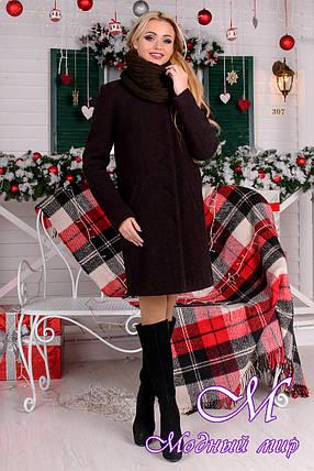Женское шерстяное зимнее пальто с хомутом р. (S-L) арт. Фортуна лайт шерсть хомут зима 8238, фото 2