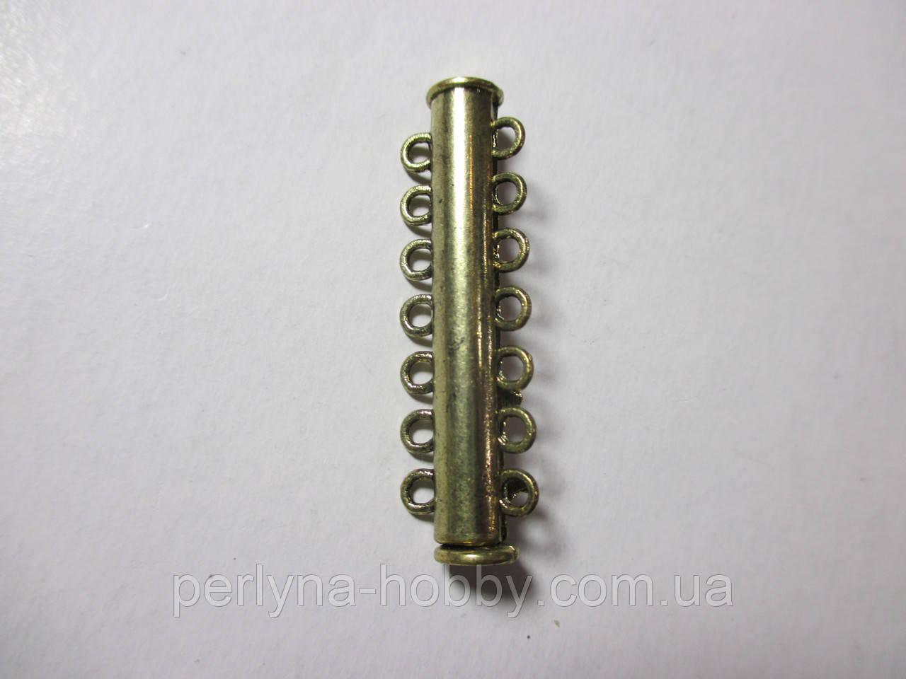 Застібка магніт 6 ниток, бронза