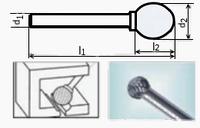 Борфреза сферическая 70х8мм (10.8х12.5мм), тип D (тип насечки ― 6)