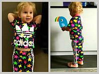 """Яркий, летний, спортивный костюм для девочки """"Adidas звездочки и сердечки"""""""