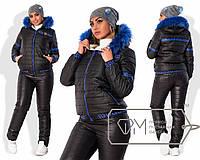 Стильный тёплый женский костюм для пышных модниц (брюки и куртка, стёганный синтепон, капюшон) РАЗНЫЕ ЦВЕТА!