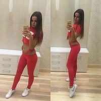 Стильный женский спортивный костюм для фитнеса (лосины и топ с принтом) РАЗНЫЕ ЦВЕТА!