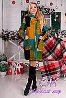 Женское зимнее пальто с капюшоном р. S, M, L, XL арт. Делфи шерсть принт зима 8312