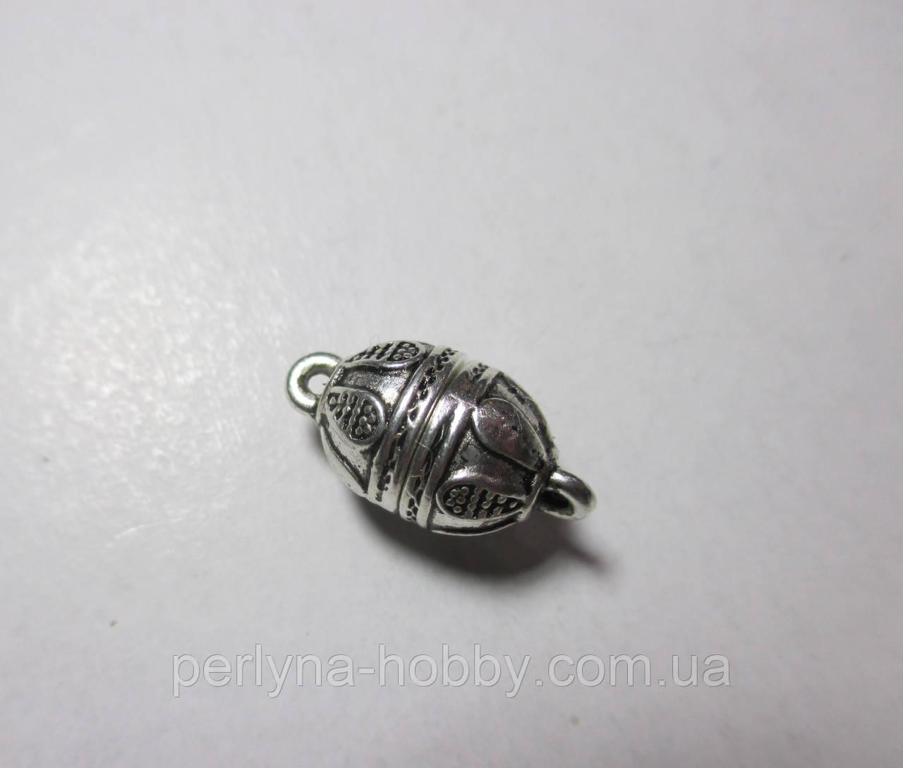 Застібка магніт кулька 20мм, античне срібло,