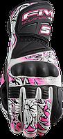 Мотоперчатки женские FIVE RFX Flower New кожа черный белый розовый L