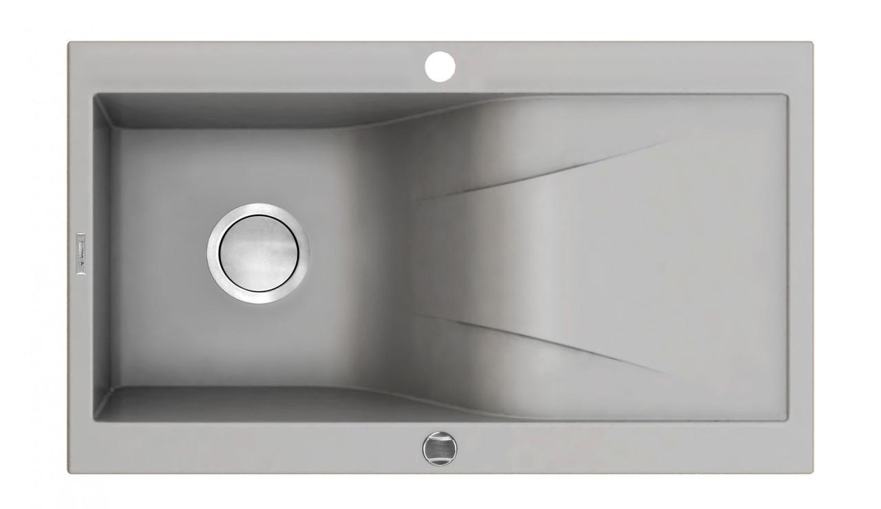 Мийка 1 камерна з полицею Deante RAPSODIA, сірий металік, 860х500х210 мм