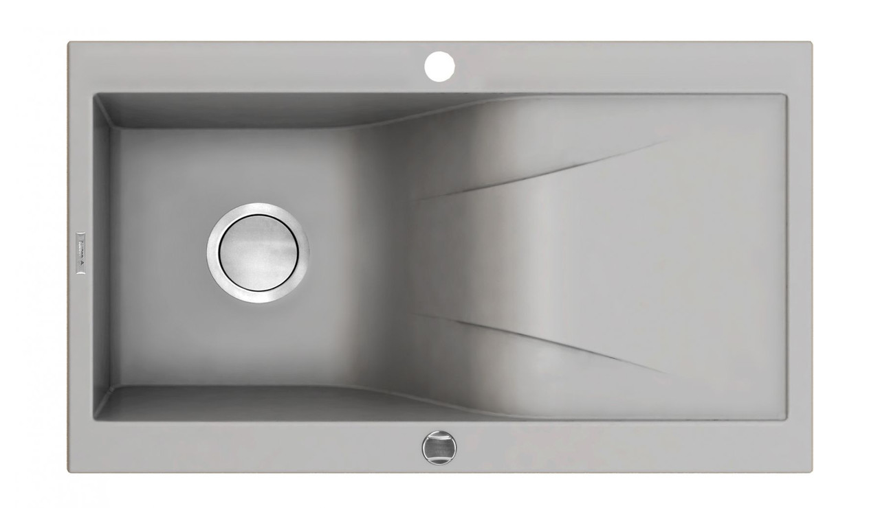 Мойка 1 камерная с полкой Deante RAPSODIA, серый металлик, 860х500х210 мм
