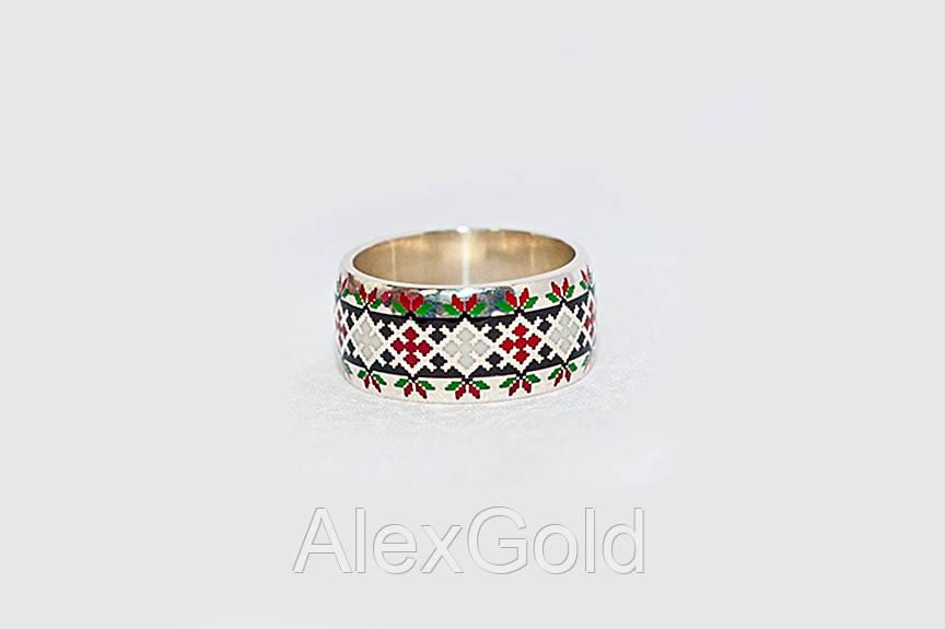 Кольцо с узором в украинском стиле