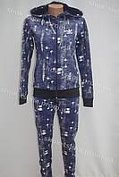 Женский зимний теплый спортивный костюм Adidas синий