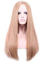 Парик искусственные волосы прямой ровный русый с пробором без челки косплей cosplay