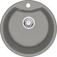 Мойка 1-камерная FIESTA SOLIS, круглая, серый металлик, 480х180 мм