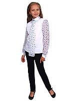 Блузка детская для девочек сорочечная с шифоном М-1070-1 рост 122-170, фото 1