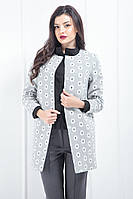 "Жіноче пальто ""Ромашка"" з кишенями ""Soft"" сіре"