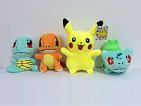 Игрушки Покемоны Пикачу, Бульбазавр, Сквиртл и Чармандер комплект мягких игрушек покемонов