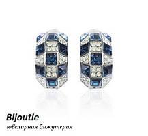 Серьги МИЛЛЕНИУМ ювелирная бижутерия белое золото декор кристаллы Swarovski