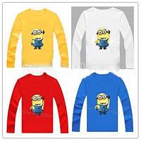 Детская футболка с изображением миньона с длинным рукавом 4 цвета, детские футболки с героями мультфильмов