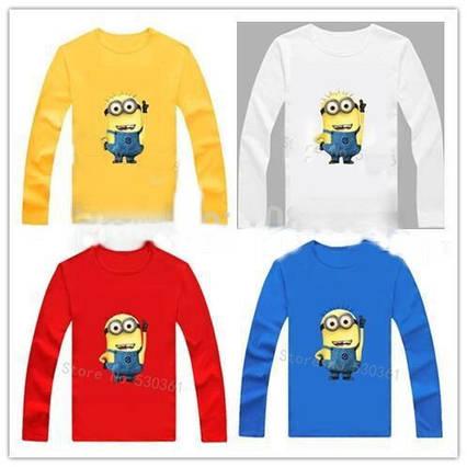 Дитяча футболка з зображенням міньйона з довгим рукавом 4 кольори, дитячі футболки з героями мультфільмів