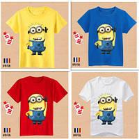 Футболки с миньонами, футболка детская с изображением миньона, 5 цветов, детские футболки, детские майки