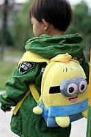 Рюкзак детский миньон, ранец, детский рюкзак миньон плюшевый, для дошкольников, одно или двух-глазый