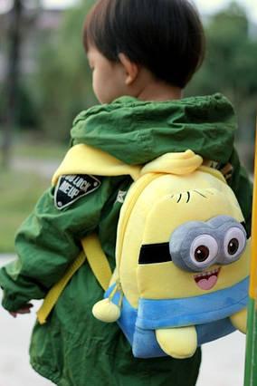 Рюкзак дитячий міньйон, ранець, дитячий рюкзак міньйон плюшевий, для дошкільнят, одне або двох-глазый