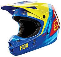 Мотошлем Fox V1 VANDAL ECE сине-желтый, XL, фото 1