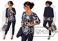 Стильный женский костюм тройка (прямые брюки, лёгкая свободная блуза, короткий жакет, рукав 3/4) РАЗНЫЕ ЦВЕТА!
