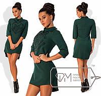 Стильное платье-мини (эффектный узкий воротник, рукава 3/4, декор камни) РАЗНЫЕ ЦВЕТА!