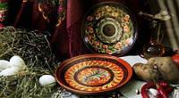 Тарелка глиняная расписная