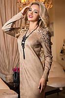 Изящное замшевое платье (длинные рукава, дизайнерская вышивка, длина до колен) РАЗНЫЕ ЦВЕТА!
